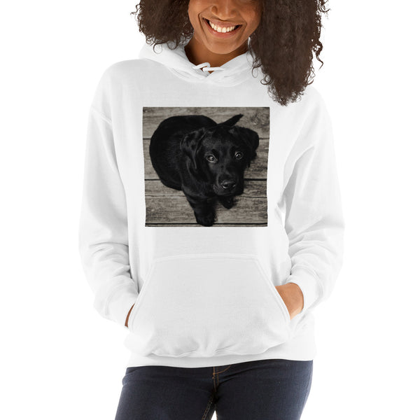 Hooded Sweatshirt With Cute Black Lab Puppy