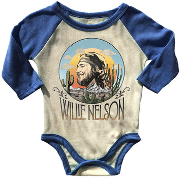 Willie Nelson Raglan Onesie Blue