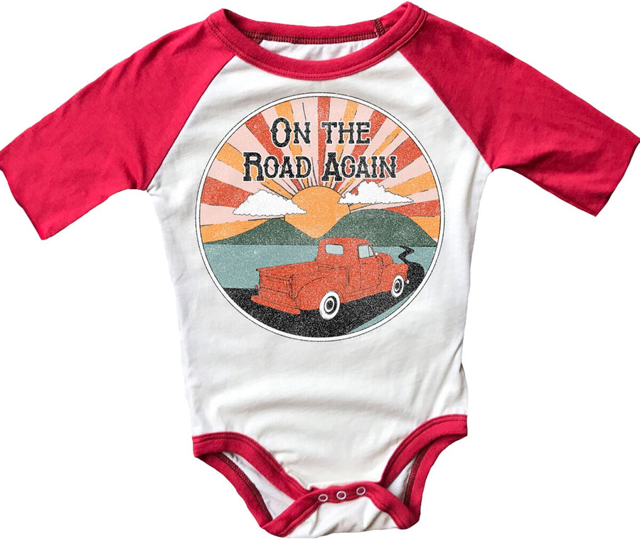 On The Road Again Short Sleeve Raglan Onesie