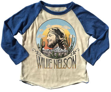 Willie Nelson Raglan Tee Blue