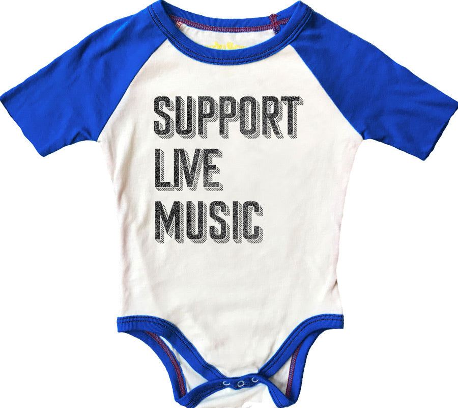 Support Live Music Short Sleeve Raglan Onesie