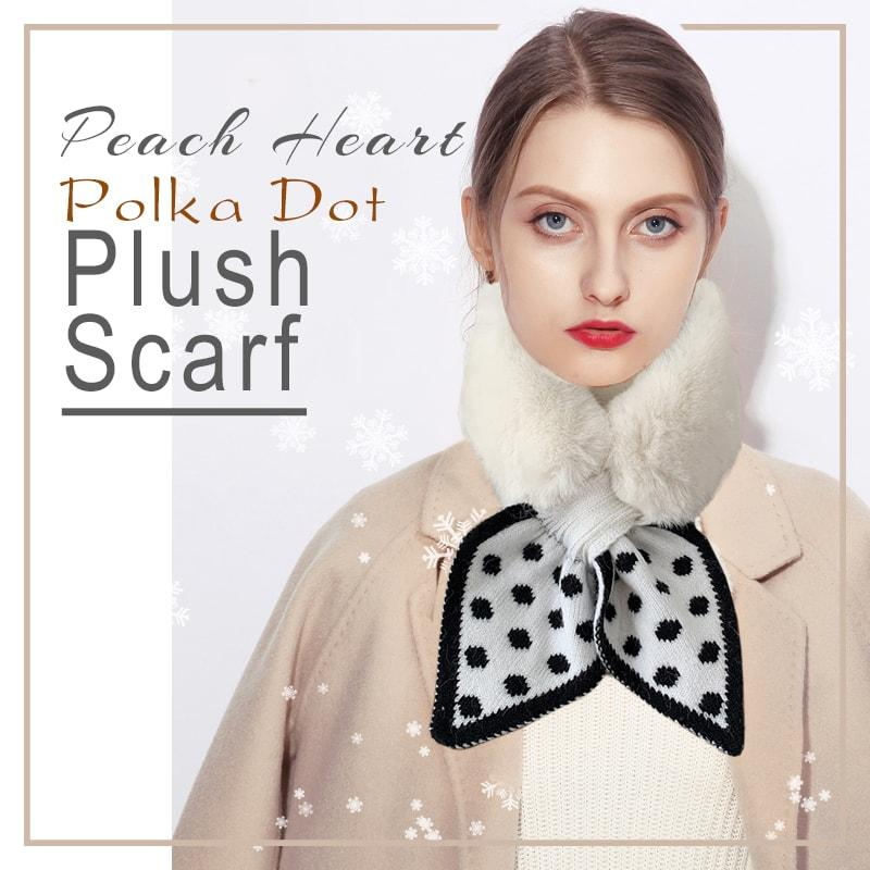 Peach Heart Polka Dot Plush Scarf