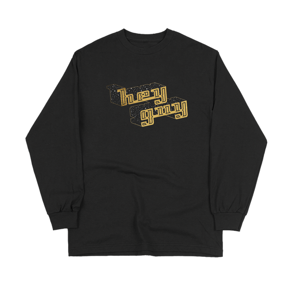 """Hey Guy Holiday"" Black Long Sleeve Tee"