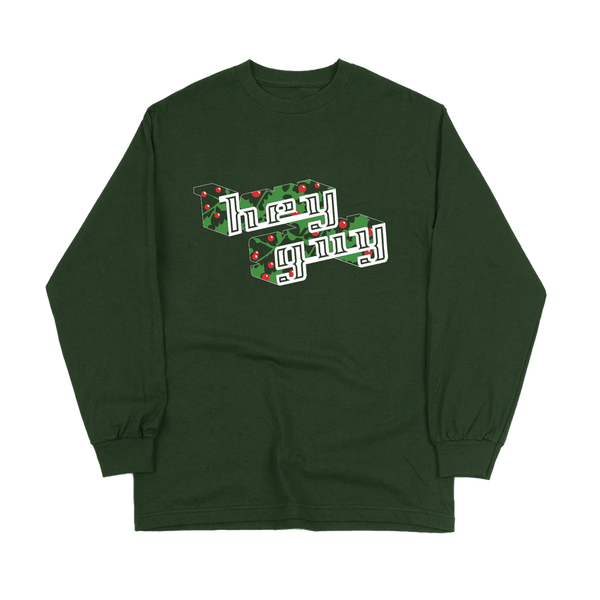 """Hey Guy Holiday"" Green Long Sleeve Tee"