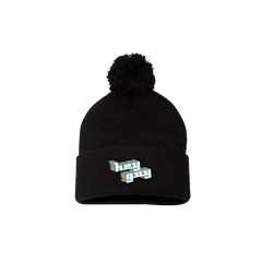 Hey Guy Black Embroidered Pom Hat