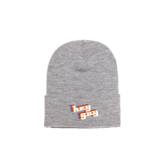 HEY GUY GREY EMBROIDERED BEANIE