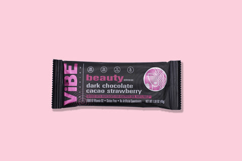 Vibe Infusion: Beauty - Dark Chocolate Cacao Strawberry - Infused With Ingredients for Healthier Skin, Hair & Nails (Box of 12 bars)
