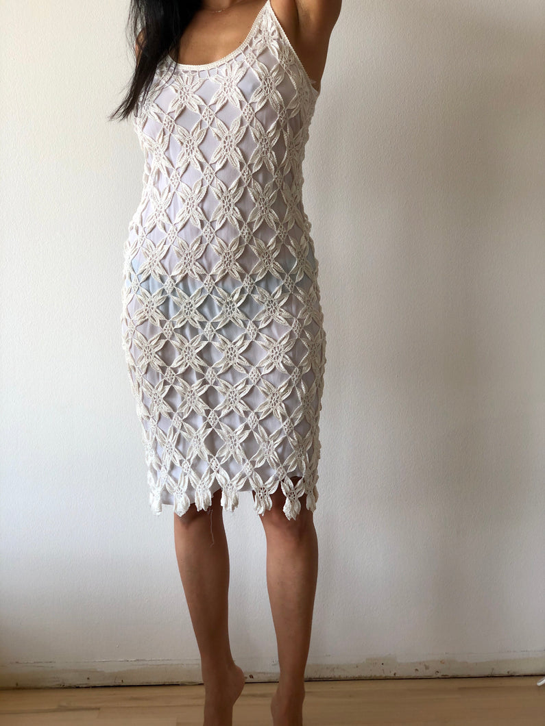 crochet hem dress