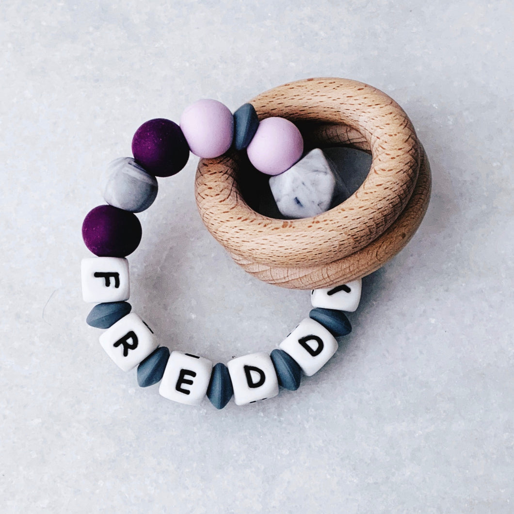 Teething Rattle - Personalized with Name - Purple