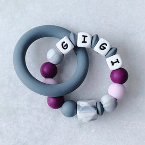 Teething Ring - Personalized with Name - Purple