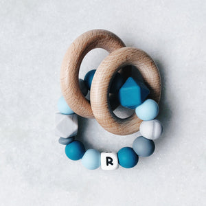 Teething Rattle - Personalized with Initial - Blue