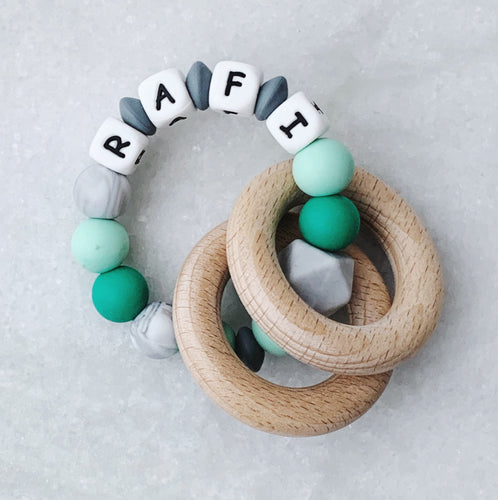Teething Rattle- Personalized with Name - Green