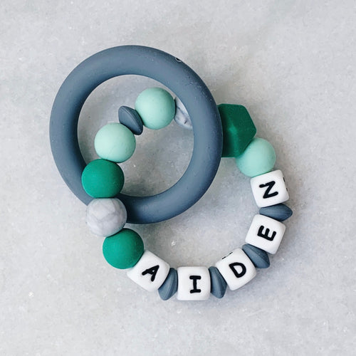 Teething Ring - Personalized with Name - Green