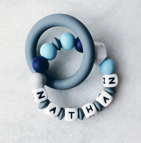 Teething Ring - Personalized with Name - Blue
