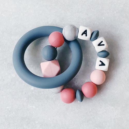 Teething Ring - Personalized with Name - Pink