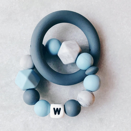 Teething Ring - Personalized with Initial - Blue