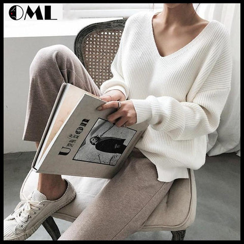 AUTUMN WINTER WOMEN'S SWEATERS V-NECK MINIMALIST TOPS-OHMYLADYSHOP