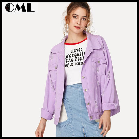 DROP SHOULDER WOMEN DENIM OVERSIZE PURPLE CASUAL JACKET COAT
