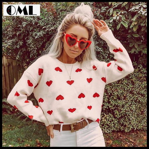 FASHION WHITE CROCHET HEART PULLOVER CASUAL LOOSE LANTERN SLEEVES JUMPERS