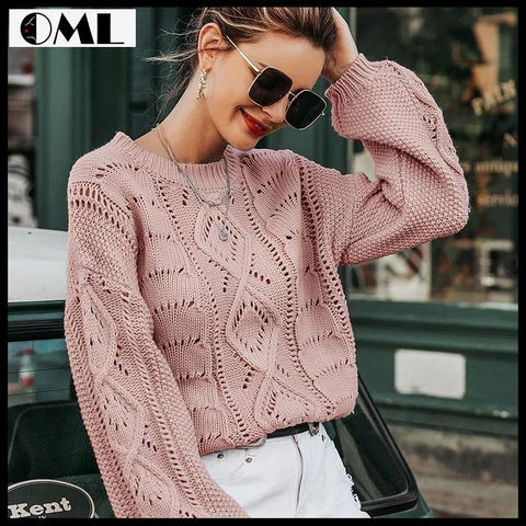 HOLLOW OUT KNITTED WOMEN LANTERN SLEEVE CASUAL JUMPER