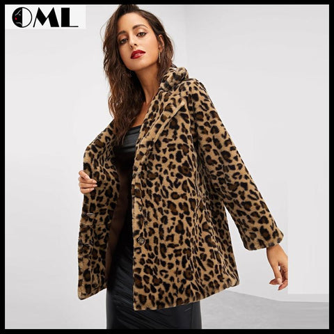 LEOPARD PRINT STREETWEAR WINTER FAUX FUR JACKET COAT