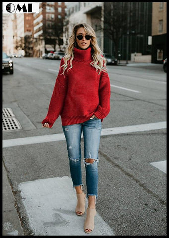 WINTER SWEATER WOMEN PULLOVER TURTLENECK KNITTED SWEATER