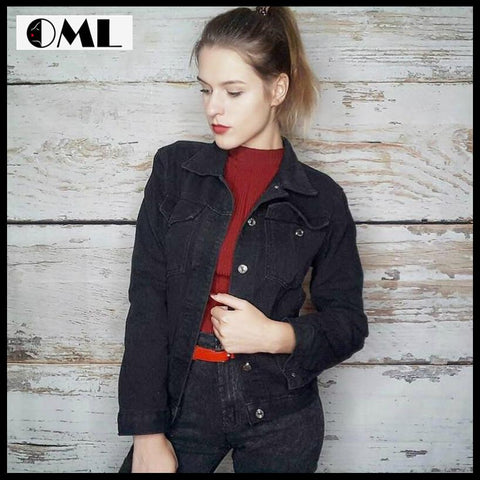 WOMEN BLACK DENIM CASUAL STREETWEAR JACKETS COAT
