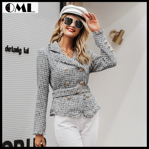 WOMEN V-NECK DOUBLE BREASTED BUTTON BELT JACKET COAT