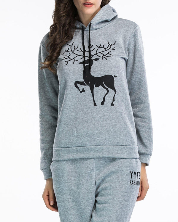 Antlers Print Christmas Hooded Sweater - Grey oh!My Lady