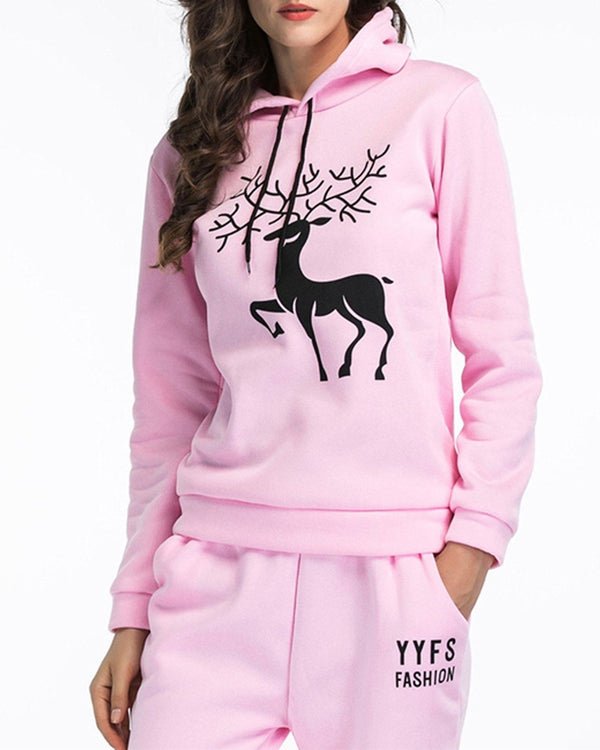 Antlers Print Christmas Hooded Sweater - Pink oh!My Lady