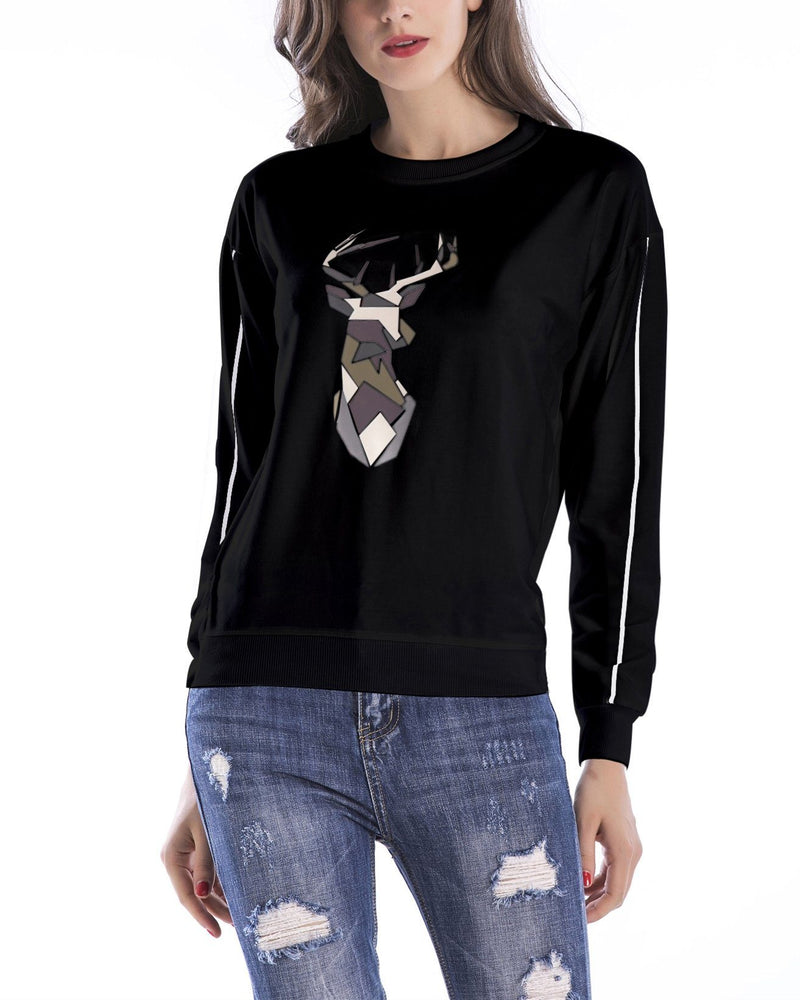 Antlers Print Christmas Sweatshirt - Black oh!My Lady