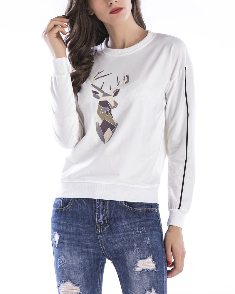 Antlers Print Christmas Sweatshirt - White oh!My Lady