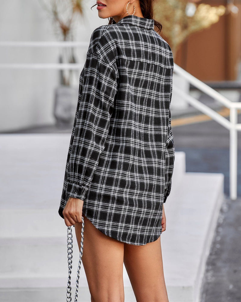 Back To World Retro Plaid Shirt - Black oh!My Lady
