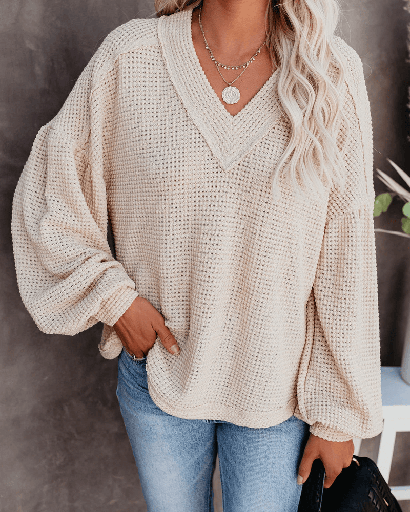 Be Happy Billowed Sleeve Thermal Knit Top - Beige oh!My Lady