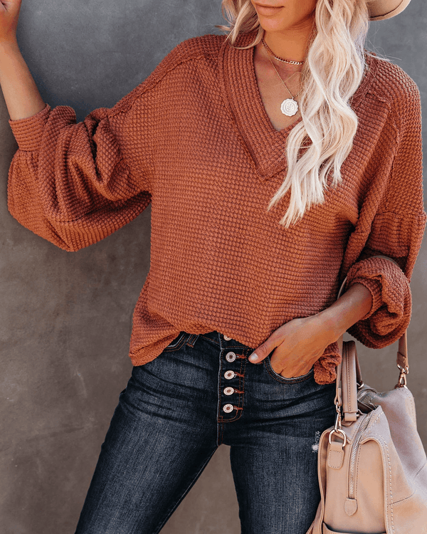Be Happy Billowed Sleeve Thermal Knit Top - Rust oh!My Lady