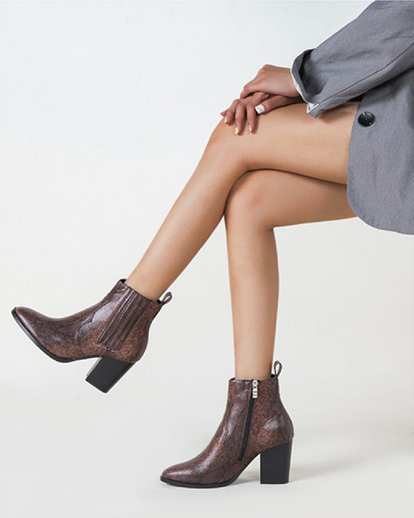 Block Heel Side Zipper Boots - Brown oh!My Lady