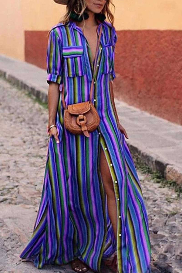Bohemian Multicolor Striped Dress ohmylady/Dresses - x OML S(2-4) Blue