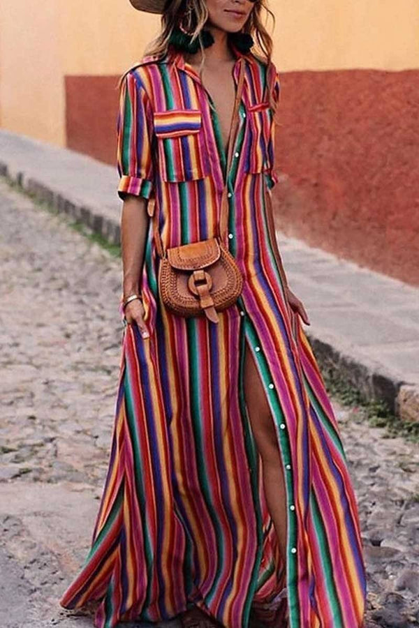 Bohemian Multicolor Striped Dress ohmylady/Dresses - x OML S(2-4) Burgary