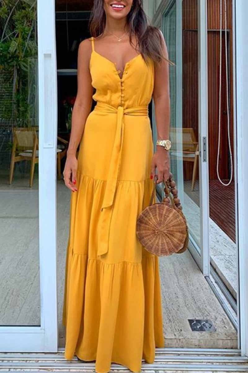 Button V-Neck Maxi Dress With Belt ohmylady/Dresses OML S(2-4) Yellow
