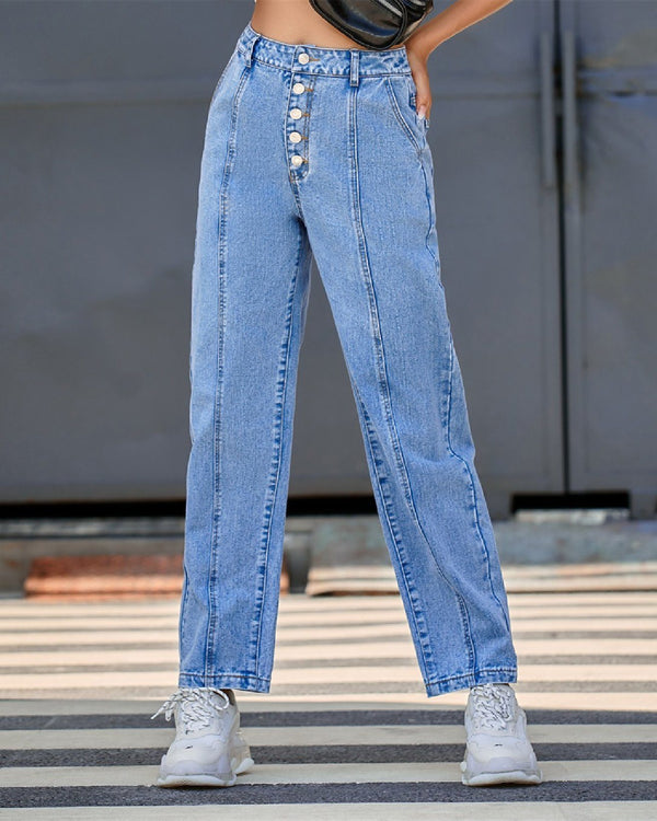 Buttoned Straight-leg Denim Pant oh!My Lady