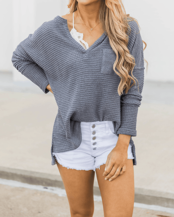 Can't Escape Most Burnt Pullover Blouse - Grey oh!My Lady