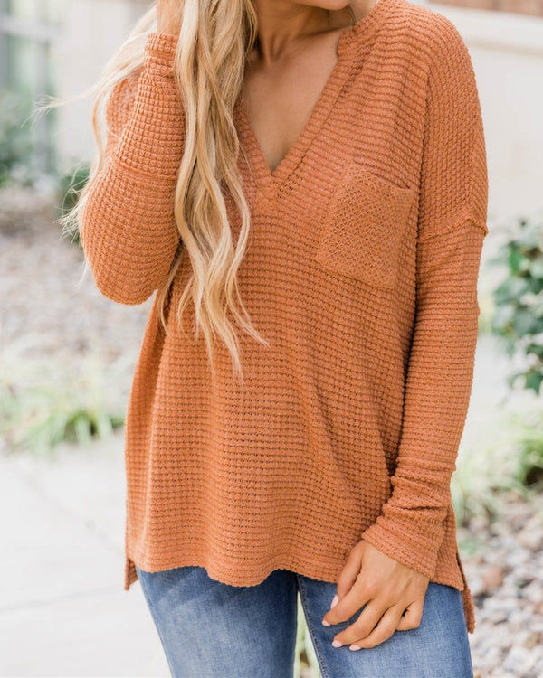 Can't Escape Most Burnt Pullover Blouse - Orange oh!My Lady