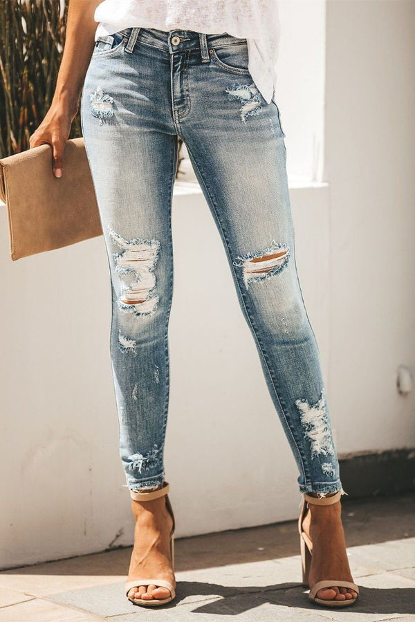 Carly Distressed Skinny Pants ss-VCB oh!My Lady