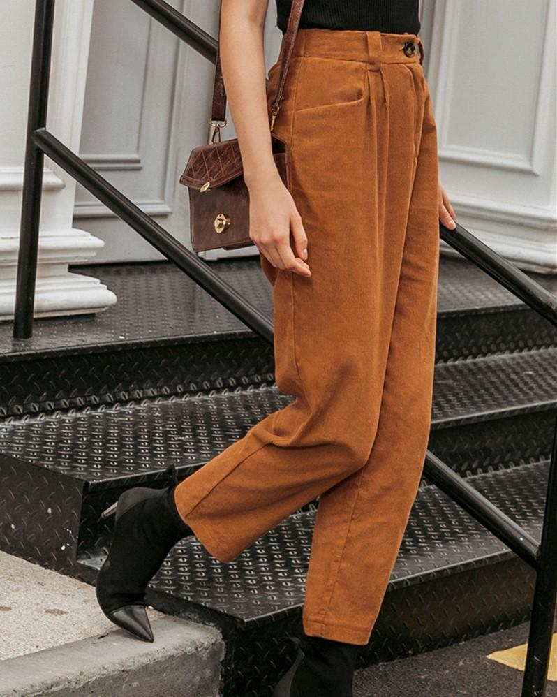 Casual Crimping Corduroy Pants oh!My Lady