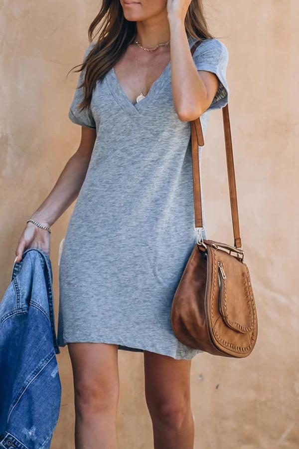Casual Deep V-neck T-shirt Dress ohmylady/Dresses OML