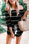 Casual Striped Frenulum Off the Shoulder Loose Jumpsuits ohmylady/Set - x OML S(2-4) Black