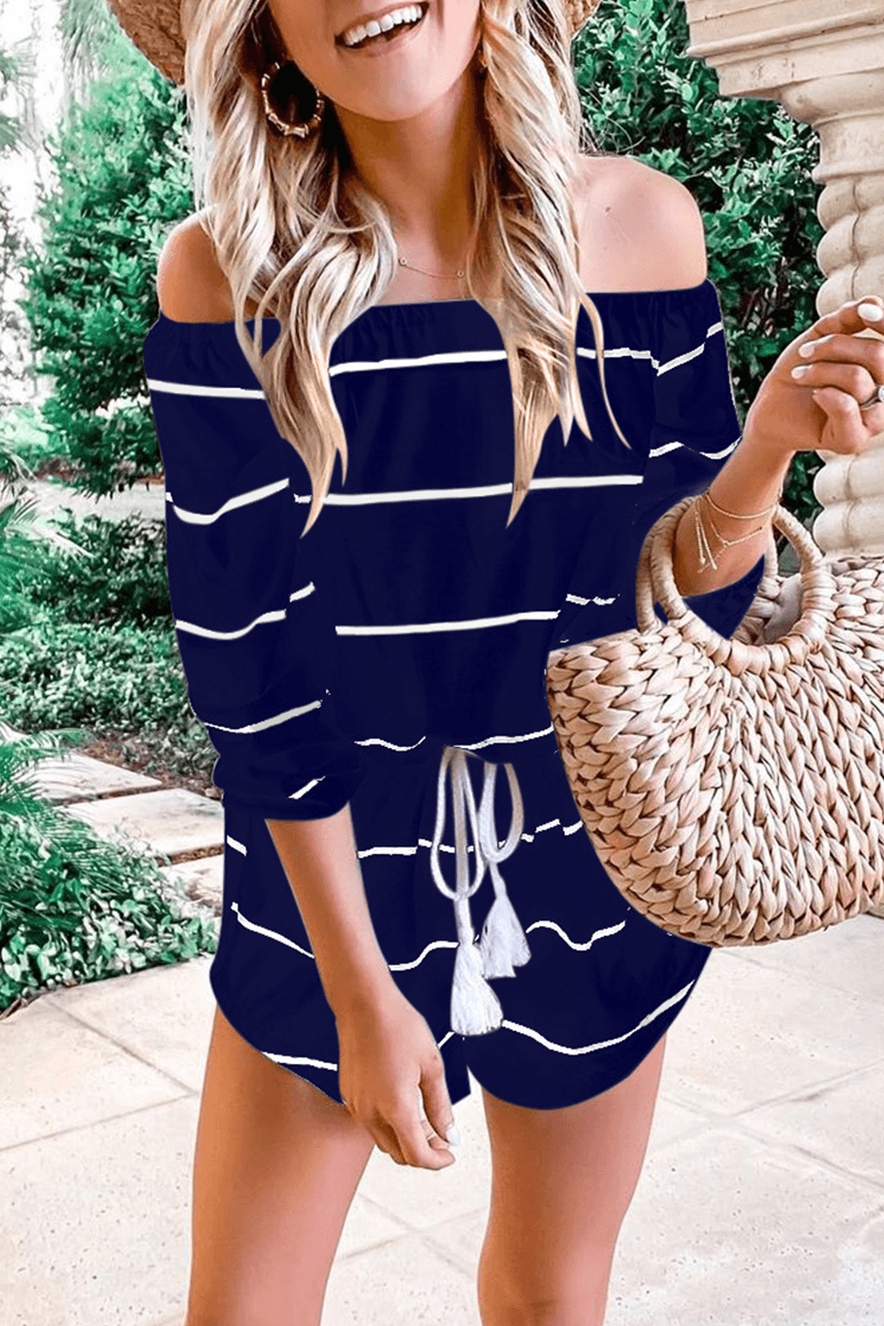 Casual Striped Frenulum Off the Shoulder Loose Jumpsuits ohmylady/Set - x OML S(2-4) Tibetan Blue