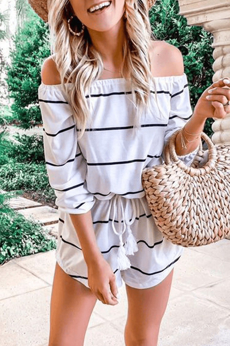 Casual Striped Frenulum Off the Shoulder Loose Jumpsuits ohmylady/Set - x OML S(2-4) White