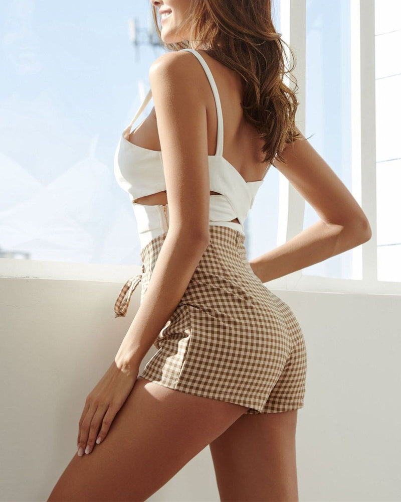 Check High Waist Tie Shorts oh!My Lady