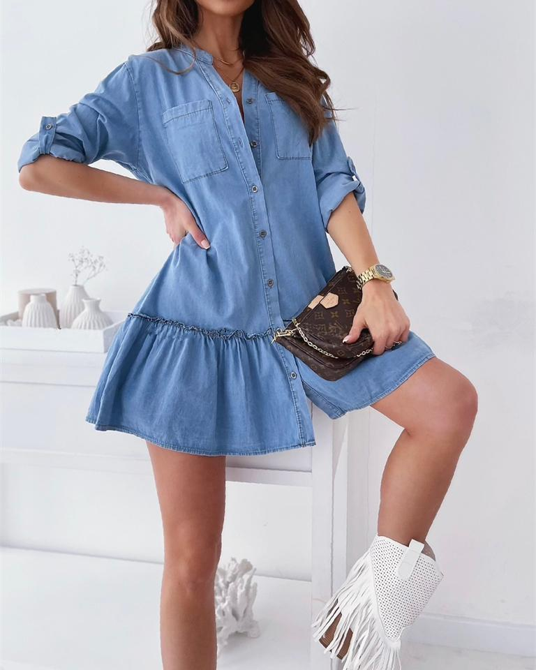Check Yes Button Up Jean Dress - Blue ss-dresses oh!My Lady